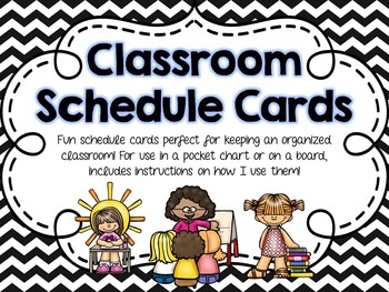 Classroom Schedule Cards - Black Chevron
