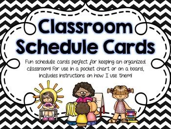 Classroom Schedule Cards - Black Chevron