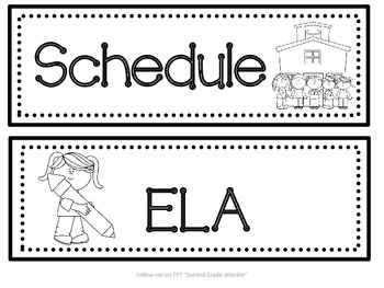 Classroom Schedule Cards Black and White