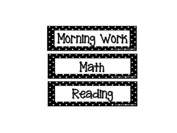 Classroom Schedule Cards Black and White Polka Dot