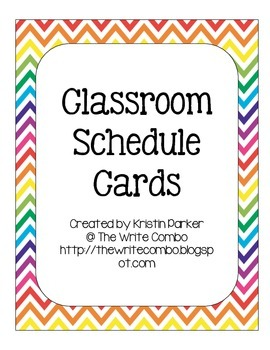 Classroom Schedule Cards - Chevron Theme