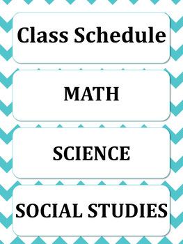 Editable Classroom Schedule Cards Chevron Theme