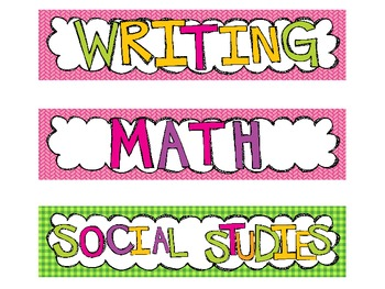 Classroom Schedule Cards Cute and Colorfol Class Schedule Labels