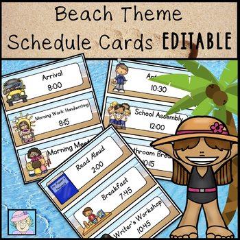 Daily Schedule Cards EDITABLE Beach Theme Classroom Schedule Cards