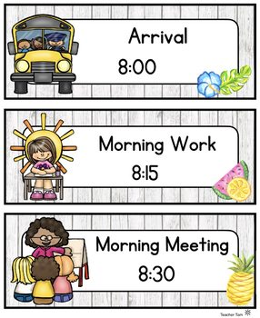Schedule Cards EDITABLE Tropical Theme Daily Schedule Cards