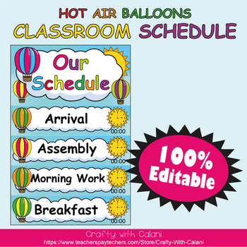 Classroom Schedule Cards with Editable Texts & Clocks in Hot Air Balloons Theme