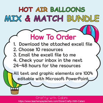 Mix & Match - Hot Air Balloons Classroom Decor Bundle #1 - 100% Editable