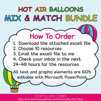 Mix & Match - Hot Air Balloons Classroom Decor Bundle #1 - 100% Editable