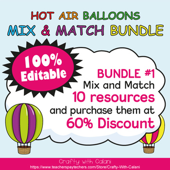Classroom Schedule Cards, Editable Cards in Hot Air Balloo