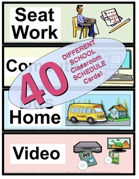 Classroom Picture & Word Schedule: 40 Colorful Illustrated Word Cards!!