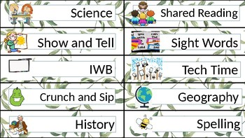 Classroom Schedule Cards (Leaves): Editable