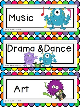 Classroom Schedule Cards (Pictures): Monster Theme