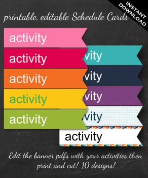 Classroom Schedule Cards - Printable Editable Activity Schedule Ribbon Shapes