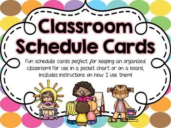 Classroom Schedule Cards - Rainbow Dots