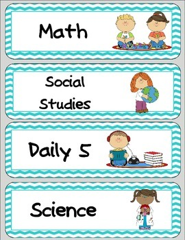 Class Schedule Cards (fits pocket chart)