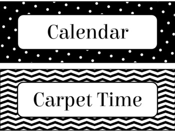 Classroom Schedule Cards in Black and White Theme