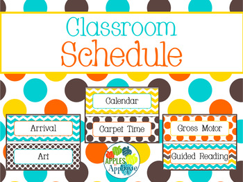 Classroom Schedule Cards in Candy Colors Theme