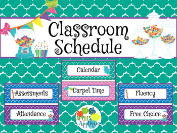 Classroom Schedule Cards in Candy Shop Theme