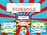 Classroom Schedule Cards in Comic Book Theme