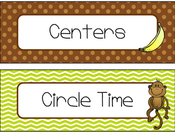 Classroom Schedule Cards in Monkey Theme