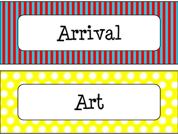 Classroom Schedule Cards in Primary Colors Theme