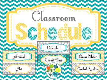 Classroom Schedule Cards in Yellow Teal and Gray