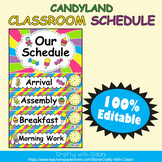 Classroom Schedule Cards with Clocks in Candy Land Theme - 100% Editble