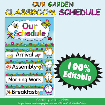 Classroom Schedule Cards with Clocks in Flower & Bugs Theme - 100% Editable