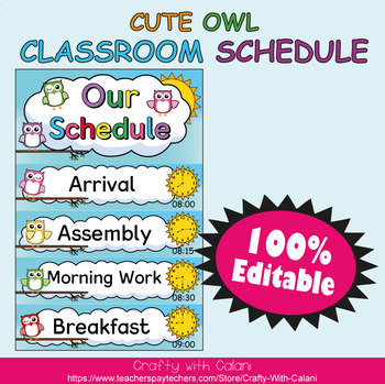 Classroom Schedule Cards with Clocks in Owl Theme - 100% Editable