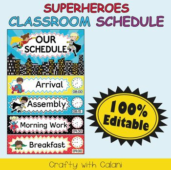 Classroom Schedule Cards with Clocks in Superheroes Theme - 100% Editable