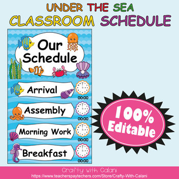 Classroom Schedule Cards with Clocks in  Under The Sea Theme  - 100% Editable