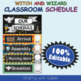Classroom Schedule Cards with Clocks in Witch & Wizard Theme - 100% Editable