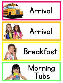 Classroom Schedule Cards with Real Pictures