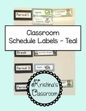 Classroom Schedule Cards with picture labels in Teal