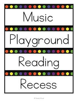 Classroom Schedule Labels with Rainbow Dots EDITABLE