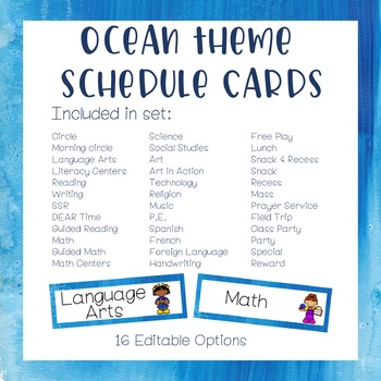 Classroom Schedule +Literacy Centers/Guided Math Schedule - Ocean Theme