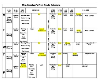 Classroom Schedule Template by Mrs Sheehan | Teachers Pay Teachers