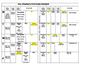 classroom schedule template by mrs sheehan teachers pay teachers
