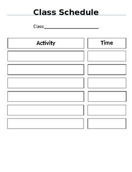 Classroom Schedule Template