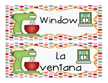Classroom Schedule and Label Cards for a SWEET classroom! English/Spanish