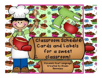 Classroom Schedule and Label Cards for a SWEET classroom!