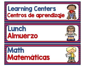 Classroom Schedule in Spanish/English - Dual Language Editable