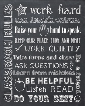 Classroom School Rules Chalkboard Chalk Poster Sign Subway Art Printable