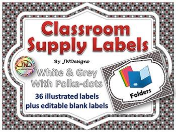 EDITABLE Classroom Supply Labels EDITABLE School Supply Labels POLKA DOT