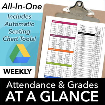 Classroom Seating Chart Attendance and Grade Sheet Template for Google Drive