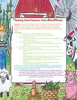 Classroom Seating Chart Partners- Farm Animal Theme