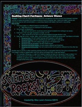 Classroom Seating Chart Partners- Science Theme
