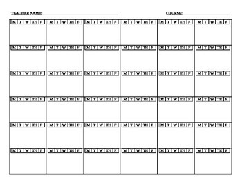 Classroom Seating Chart with Embedded Day Chart