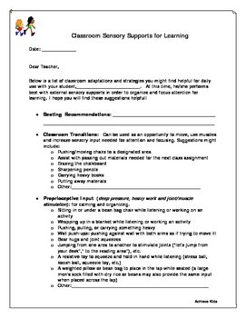 Classroom Sensory Supports for Learning
