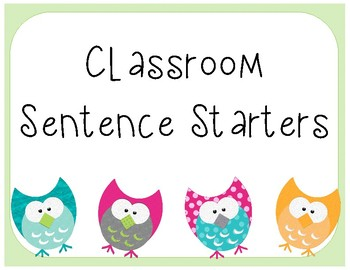 Classroom Sentence Starters